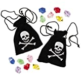 6 Stück Piraten Schatzbeutel, Piraten-Beutel mit Edelsteinen Schatz Piratenparty
