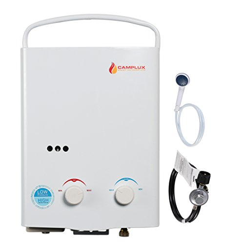 Camplux 5L Outdoor 1.32GPM Portable Propane Gas Tankless Water Heater and Camping Shower, Lowest Water Pressure Startup (Tankless Water Gas Heater compare prices)
