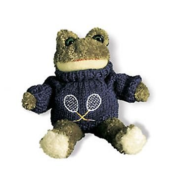 Stuffed Animal Tennis Frog with White Sweater