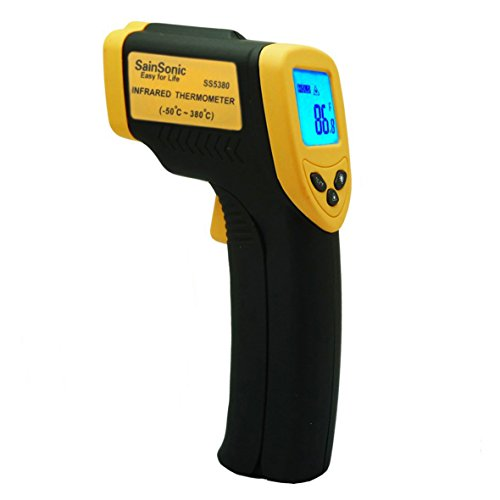 Sainsonic Ss5380 Non-Contact Ir Thermometer Gun With Laser Targeting, Measures In Celsius Or Fahrenheit -32 To +380C/-26 To +716F