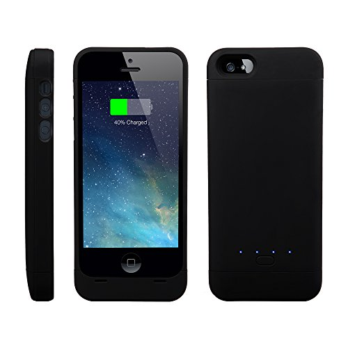 [Apple Certified ]EasyAcc®Mfi 2200mAh iPhone 5 5s 5c battery charging case, Rechargeable extended protective Battery Case for iPhone 5 5s 5c,Original Lightning Charging Plug,Black [12-month Warranty]