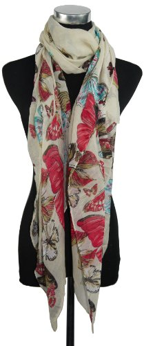 Large Cream Butterfly Chiffon Scarf or Sarong