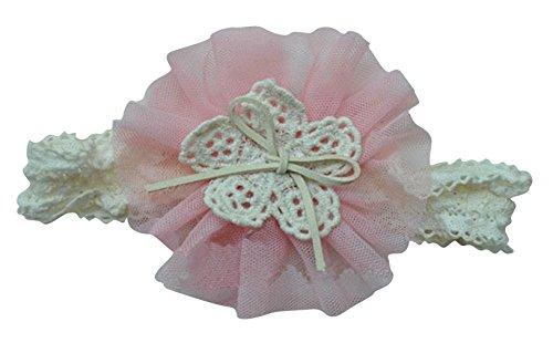 PinkXenia Soft Elastic Lace Chiffon Pink Flower Newborn BabyGirl Headband