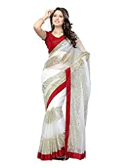 Janasya Women's White Colour Net Saree With Contrast Border.