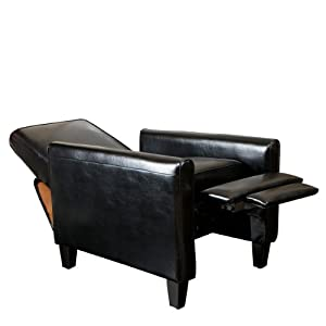 lucas black leather recliner club chair