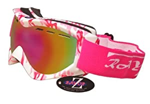 2014 Rayzor Professional UV400 Double Lensed Ski / SnowBoard Goggles, With a Matt Pink Camouflage Frame with a Vented Anti Fog Coated, Pink Iridium Mirrored Anti-Glare Clarity Wide Vision Lens.