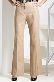 Linen Blend Flat Front 4 Button Bootcut Trousers [T59-7824T-S]