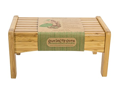 Growing Up Green Wooden Step Stool - Durable Construction - Non-Slip Surface and Feet - Lightweight - 200 Pound Capacity - Made From Sustainable Materials - 7 Inches Tall x 14 Inches Wide