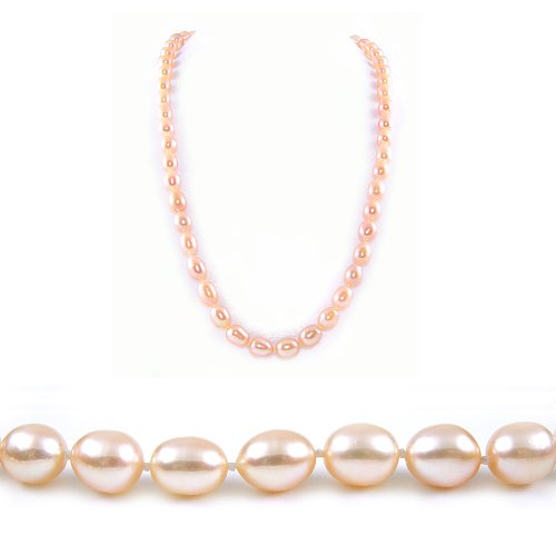AugustinaJewelry Single Strand 22 Inch 8-9mm pink Oval Shape Freshwater Cultured Pearl Necklace