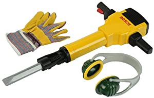 Bosch Toy Hammer Drill with Earmuffs and Gloves