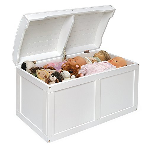 White Barrel Top Toy Storage Box with Lid Containers and Chest Organizer Bins for Kids Pet Toys ,Cars and Accessories - Children Home Units Solutions (Treasure Chest Basket compare prices)