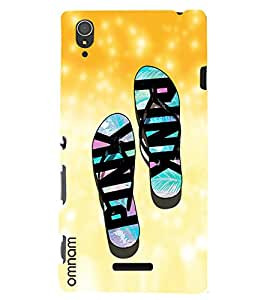Omnam Slippers Printed With Colorfull Designer Back Cover Case For Sony Xperia T3