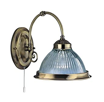 American Diner Antique Brass And Clear Ribbed Glass Wall Light 1X60 Watt Bc Lamp