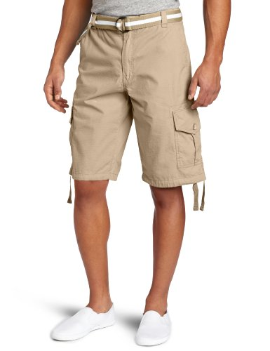 Southpole Men's Big-Tall Big & Tall Belted Ripstop Basic Cargo Short with Washing & 13.5 Inch Length All Season, Deep Khaki, 48