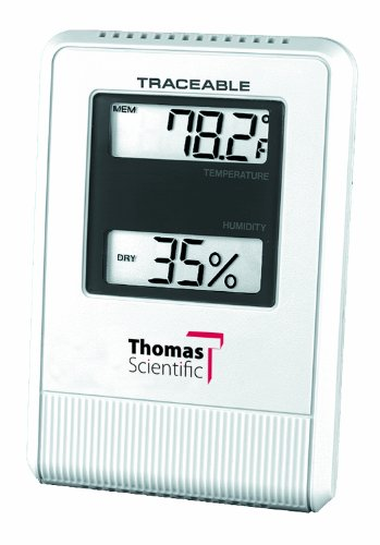 "Thomas ABS Plastic Traceable Hygrometer/ Thermometer, with 1/2"" High 2 Line LCD Display, -58 to 158 degree F, -50 to 70 degree C, humidity 25 to 95% - 1"