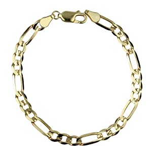 14k Yellow Gold 6.1mm Men's Figaro Bracelet, 8.25