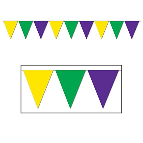 Club Pack of 12 Multi-Colored Mardi Gras Themed Outdoor Pennant Banner Hanging Party Decorations 12