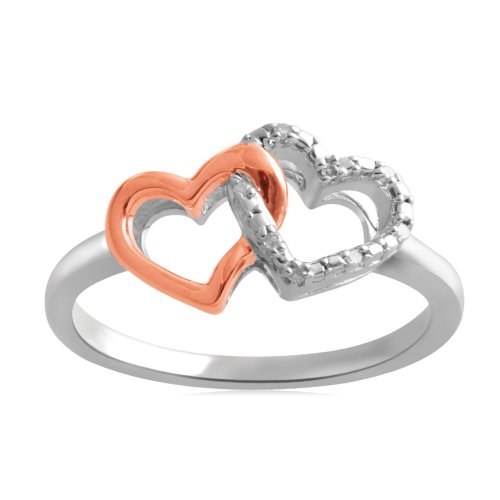 18k Rose Gold Plated Sterling Silver Diamond Accent Two Tone Celtic Heart Ring (I-J Color, I3 Clarity), Size 7