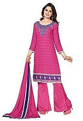 Parisha s Pink Embroidered Chanderi Straight Suits Dress Material(Rani)