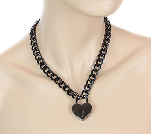 Black-Heart-Lock-Gothic-Necklace-Pendant-Black-Chain-Real-Lock