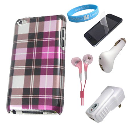 Apple iPod Touch 4G Protective Pink Checker Back Case + Clear Screen