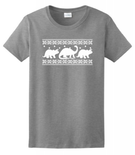 Dinosaur Pattern Faux Ugly Christmas Sweater Ladies T-Shirt Large Sport Grey