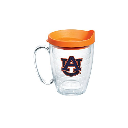 Tervis 1056775 Auburn University Emblem Individual Mug with Orange lid, 16 oz, Clear (Tervis Tumbler 15oz With Lid compare prices)