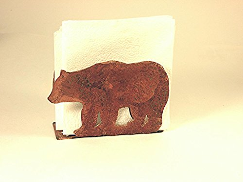 Napkin Holder Grizzly Bear Rustic Rusted Metal 6.50