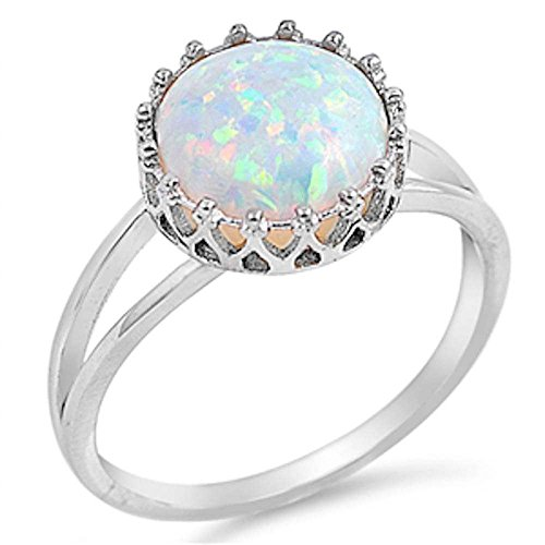 Crown Lab Created White Opal .925 Sterling Silver Ring Size 8