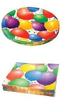 Happy Birthday Party Pack - Balloon Bash - 18 Plates & 20 Napkins St3