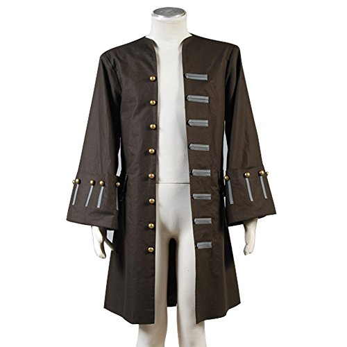 Pirates of the Caribbean 4 Cosplay Costume Jack Sparrow Trench Coat (Male L)
