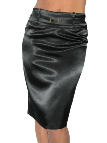 (2328) Pencil Skirt Stretch Satin + FREE belt Black size 8-18
