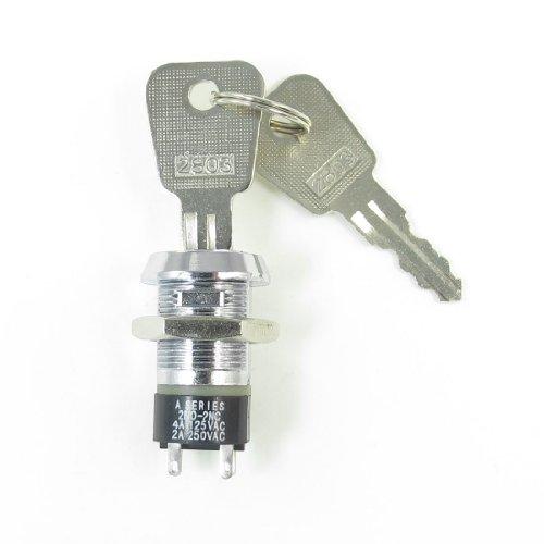 4A/125V 2A/250V Ac 4 Terminals On Off Tubular Key Lock Switch Silver Tone