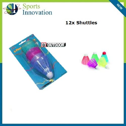 Outdoor Coloured Shuttlecocks - Qty:12 (2x packs of 6)