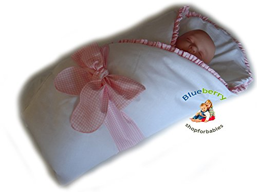 Blueberry Shop Luxury Warm Newborn Swaddle Wrap Blanket Duvet Sleeping Bag Satin Cotton Pink Check - 1