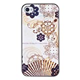 The Antique Sandalwood Fan Pattern PC Hard Case with Black Frame for iPhone 4/4S