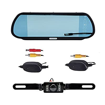 "CISNO 7"" LCD Car Rear View Mirror 16:9 Monitor+Wireless Reverse 7 Led IR Night Vision Waterproof Camera Kit from The Rear View Camera Center"