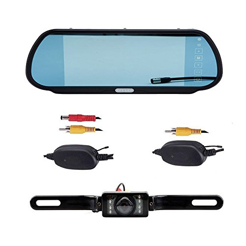 "Cisno 7"" Lcd Car Rear View Mirror 16:9 Monitor+Wireless Reverse 7 Led Ir Night Vision Waterproof Camera Kit"