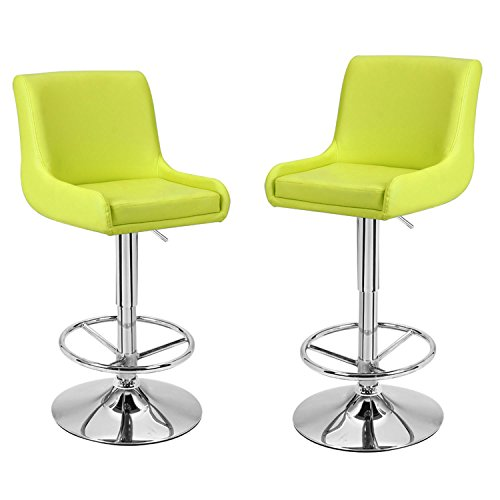 Adeco Contemporary Cozy Adjustable Bar Counter Stools, Set of TWO, For Indoor, 360 degree rotation, Lime Green