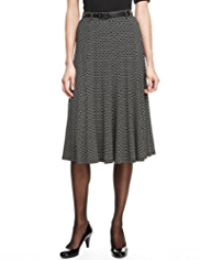 M&S Collection Circle Print Long Flippy Skirt with Belt