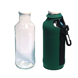 2 PAK: 16 oz. Water/Sports Bottle with Koozies + screw-on caps. Ultra Break-Resistant - HercuGlass Treated