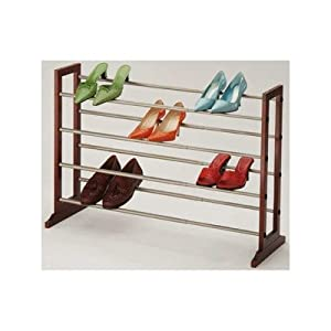 Richards Homewares Mahogany 4 Tier Expandable Shoe Rack
