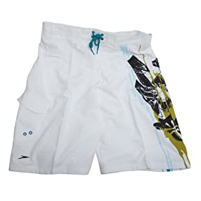 Clearance Speedo Swimwear Mens Printed Swimming Shorts (White)