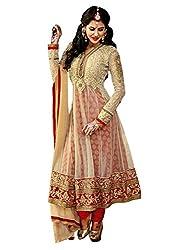 Ethnic Basket Cream Semi Stitched Net Anarkali Salwar Suit