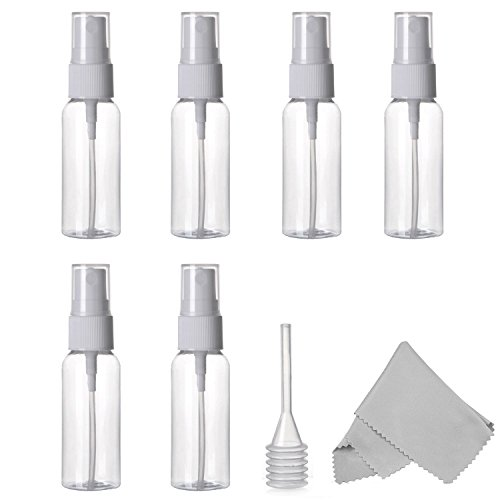 Spray Bottle, Alink 6 Pack Empty 30ml (1 oz.) Clear Plastic Fine Mist Sprayer with Microfiber Cleaning Cloth and Dropper for Cleaning, Travel, Essential Oils, Perfume (Tiny Apothecary Bottles compare prices)