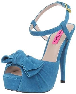 Betsey Johnson Women's Haylie Sandal,Teal Suede,6 M US