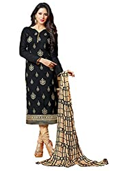 Adorn Mania Black Cotton Embroidered salwar Suits Dress Material