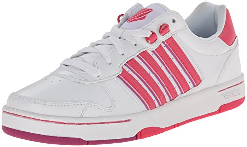 K-Swiss Women's Jackson Fashion Sneaker, White/Honeysuckle/Dahlia Mauve, 8.5 M US