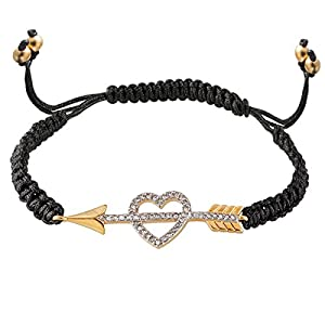 Juicy Couture Summer Friendship Pave Heart & Arrow String Cord Bracelet-Black