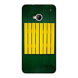 Stylish Green Squares Yello Back Case Cover for HTC One M7